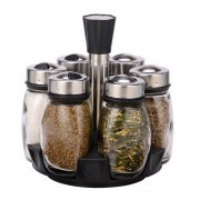 Set Condimente cu Suport Rotativ Alena Grunberg, 6 Recipiente, 7 piese, Sticlă