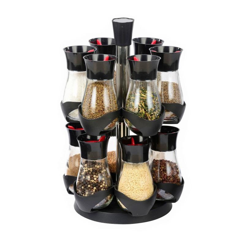Set Condimente cu Suport Rotativ Grunberg, 12 Recipiente, 13 piese, Sticlă