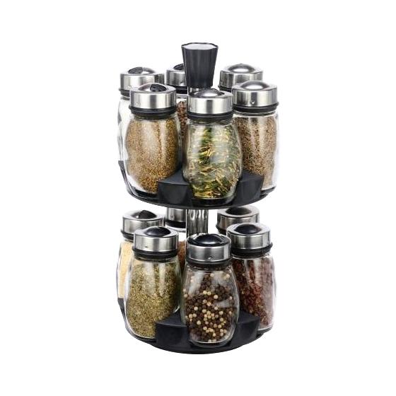 Set Condimente cu Suport Rotativ Alena Grunberg, 12 Recipiente, 13 piese, Sticlă