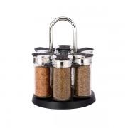 Set Condimente cu Suport Rotativ Grunberg, 6 Recipiente, 7 piese, Sticlă şi Inox