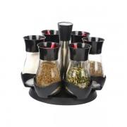 Set Condimente cu Suport Rotativ Grunberg, 6 Recipiente, 7 piese, Sticlă şi Plastic