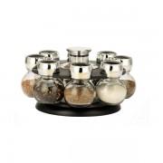 Set Condimente cu Suport Rotativ Grunberg, 8 Recipiente, 9 piese, Sticlă şi Inox