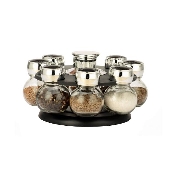 Set Condimente cu Suport Rotativ Grunberg, 8 Recipiente, 9 piese, Sticlă