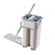 Set Găleată şi Mop cu Stoarcere Flat Mop Clean, 10 Litri, 2 Cuve, Dop Scurgere, Diverse Culori