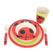 Set Mic Dejun cu Model pentru Copii din Fibre de Bambus Grunberg, 5 piese, Biodegradabil, Diverse Culori