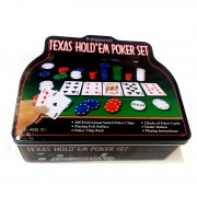 Set Poker Texas Hold'Em POKER1006, 200 Jetoane, 2 Carduri, Buton Dealer