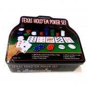 Set Poker Texas Hold'Em POKER1006, 200 Jetoane, 2 Carduri, Buton Dealer