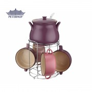 Set Supieră şi 4 Boluri din Ceramică cu Suport şi Polonic Domba Peterhof, 2.5 Litri, 4 x 800 ml, 8 piese