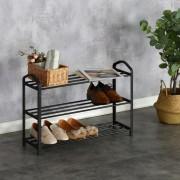 Suport cu 3 Rafturi pentru Încălțăminte Heinner Home, 62.5 x 19 x 44 cm, Metal și Plastic, Negru