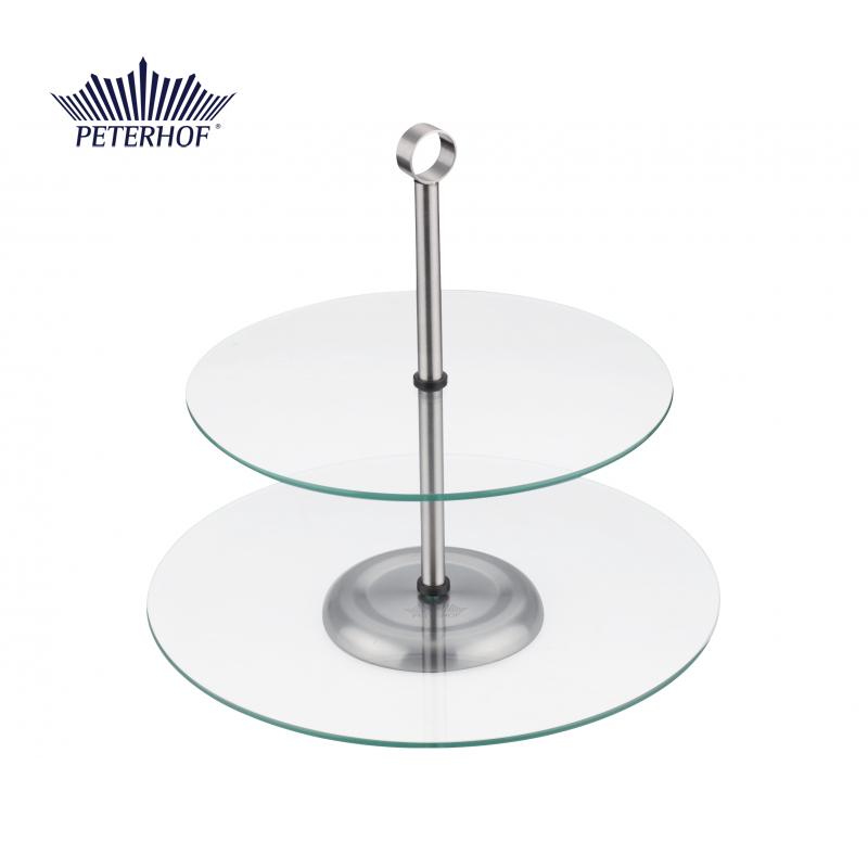 Suport pentru Tort cu 2 Etaje Pastel Peterhof, 2 nivele, Inox şi Sticlă