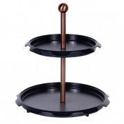 Suport pentru Prăjituri cu 2 Niveluri Grunberg, 30 x 30 x 32 cm, Metal și Plastic, Negru