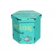 Taburet pliabil Heinner Home, 38 x 38 cm, Spațiu Depozitare, Model Tea