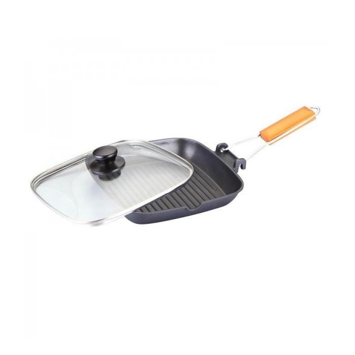 Tigaie Grill din Aluminiu cu Mâner Pliabil Grunberg, 28 cm, Grătar Teflon, Capac inclus