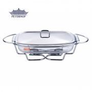 Vas Cald (Dish) cu Încălzitor Azus Peterhof, 3.5 Litri, Vas Yena cu Capac, Sticlă Pyrex, Suport, Inox